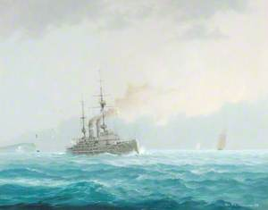 View of a King Edward VII Class Battleship, Steaming off 'The Needles', c.1903