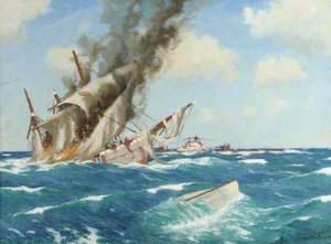 U-Boat Sinking Barque by Gunfire
