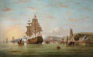 The Royal Barge off Cowes with the Royal Yacht Squadron Beyond