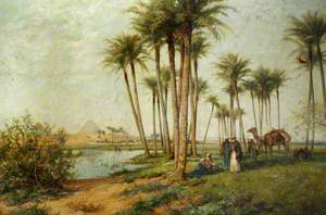 Bedouin at an Oasis with Pyramids