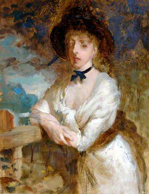 Lady in White Dress with Hat