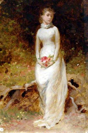 Lady in White Dress Holding Flowers