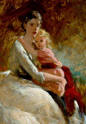 Mother with Child in Pink Dress