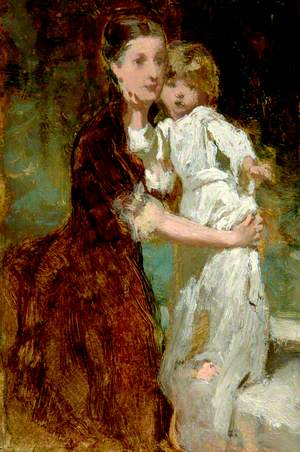 Mother with Child in White Dress