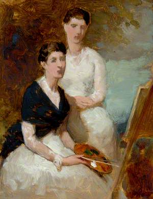 Two Women with Easel and Palette