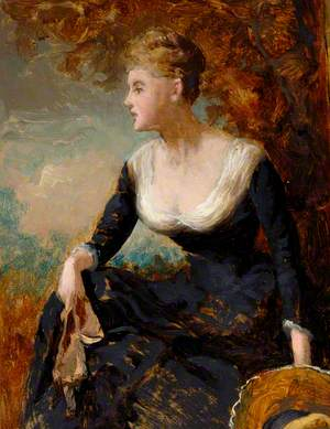 Seated Woman in Black Dress