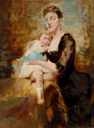Woman in Black Dress Holding Child