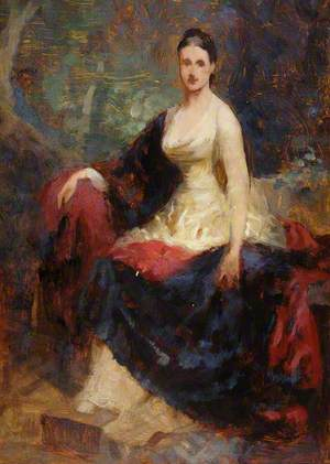 Seated Woman in White Dress