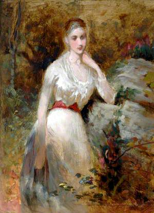 Woman in White Dress with Red Sash
