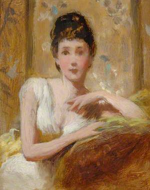 Seated Girl in White Dress