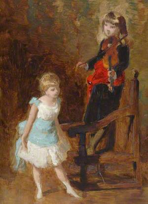 Girl and Boy with Violin