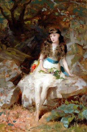 Seated Girl in Wood