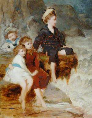 Group of Children by Seashore