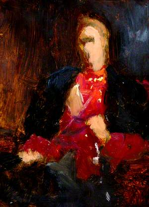 Seated Figure in Red and Black