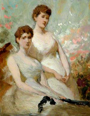 Two Seated Ladies in White Dresses