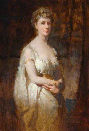 Standing Woman in White Dress