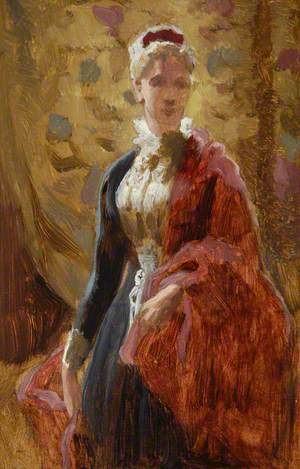 Standing Woman with Red Cloak