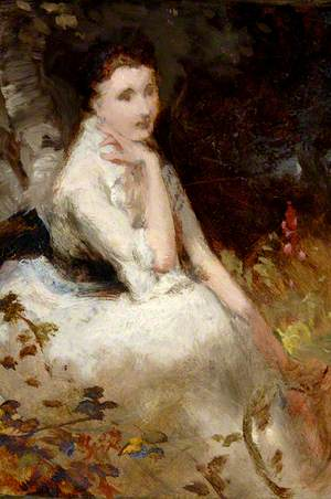 Seated Lady in White Dress