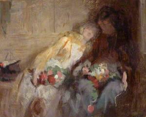 Two Seated Figures with Flowers