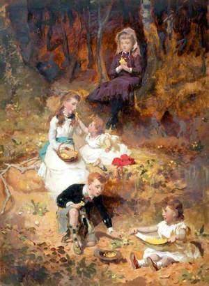 Five Children Playing in the Forest