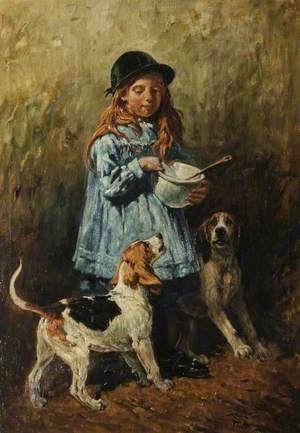 Girl with Two Hounds