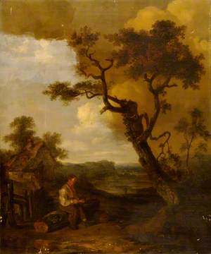 Pastoral Scene with Man Chopping Wood