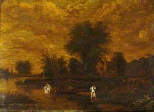 River Landscape with Cottage and Figures