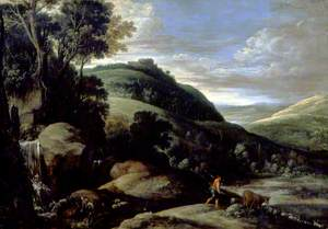 Hilly Landscape with a Shepherd