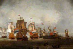 British Men O'War and the Dutch Fleet Commanded by Admiral Tromp Fighting on the Thames