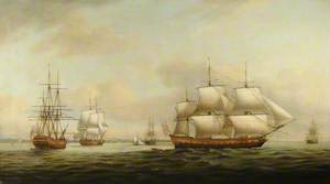 The East Indiaman 'Ceres' off the Spithead Depicted in Four Different Views