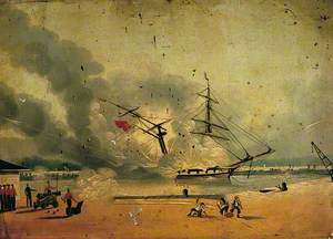 Brig 'Tartar' on Fire, Southampton Docks, 2 June 1842