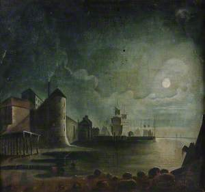 Canute Tower at Town Quay, Southampton by Moonlight