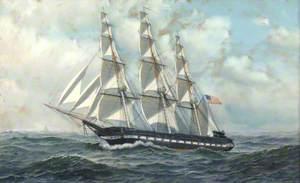 American Warship under Sail