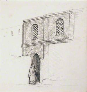 Drawing of an Arab Child in a Doorway of a Brick Building
