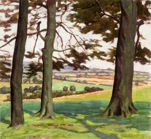 Landscape with Three Tree Trunks