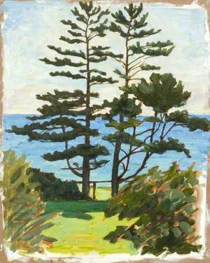 Lake Scene with Two Conifers
