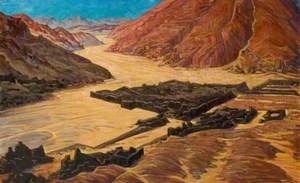 Egyptian Wadi with Ruined Structures