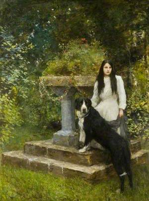 Gwenddydd (1893–1927), and Her Dog in a Garden