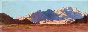 Panoramic View of Mountains Rising from a Desert Floor