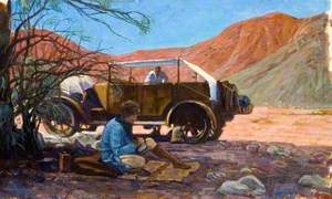 Amice Calverly Sitting Writing or Sketching with Joey, Their Expedition Car and Their Egyptian Servant