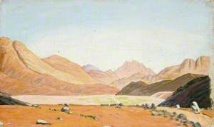 Prospect of Rolling Hills and Mountains above a Valley Floor with a Road