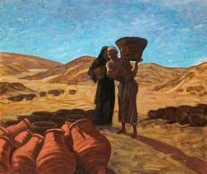 Egyptian Man and Woman Holding Earthenware Vessels
