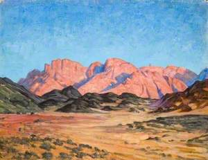 Mountains Rising above Foothills across a Wadi