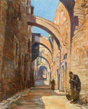 Two People in an Egyptian Street with Flying Buttresses above