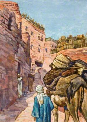 Arab Leading a Camel up a Steep Village Street