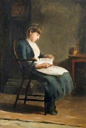 A Girl Sitting Reading