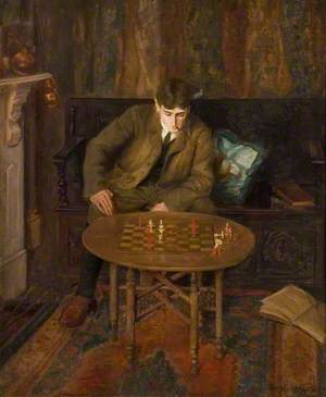 A Young Man Sitting on a Settle Leaning over a Chess Table