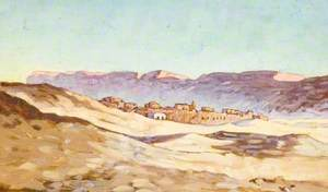 Arab Village with Mountains Beyond