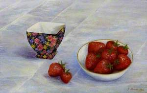 Strawberries in a Dish on a Table with a Decorated Bowl