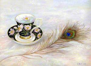 Peacock Feather and Bone China Cup and Saucer